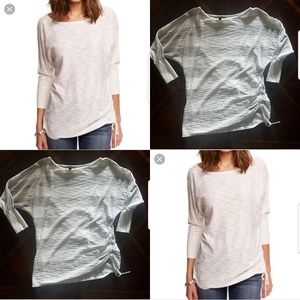 Express grey and white striped dolman sleeve top